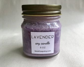 Lavender Scented Soy Candle - Mason Jar Candle - Hostess Gift - Aromatherapy Candle - Relaxing