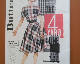 Butterick 9864 Classic Day Dress 4-Yard Dress Vintage Sewing Pattern 1960s 60s Size 14