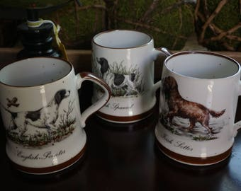 Vintage, Set of Threes Hunting Mugs
