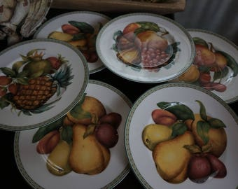 Vintage, Set of Six Fitz and Floyd Fruit Plates