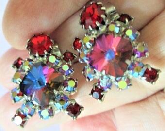Ruby Red Earrings Cluster Rhinestone Clip On Earrings Bridal Evening Wear Crystal Earrings Bridesmaid Jewelry Vintage Clip On Ruby Red
