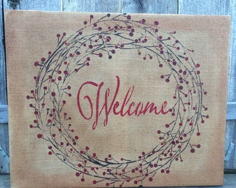 Welcome with berry wreath