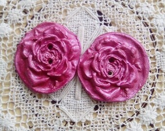 Pink air dry clay rose buttons, pair of pink flower buttons, handmade buttons, unique buttons, scrapbooking, craft supply, round buttons