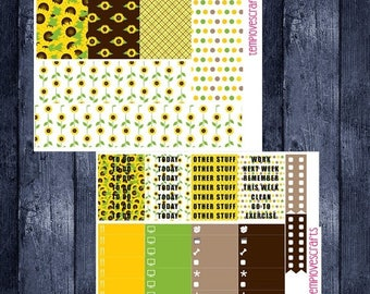 Weekend Sale Sunny Sunflower Set for Erin Condren Life Planner