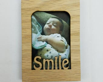 Smile - Magnet Photo Frame - 10 Color Options (Shown in Unfinished) - Mini Wallet Pictures