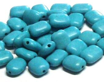 Destash Rectangular Pillow Turquoise Magnesite Stone Beads (34) 10 MM X 8 MM, Destash Beads, Destash Stone Beads
