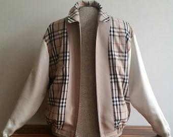 Vintage BURBERRY Jacket sz M Nova Check Lined Harrington/Blouson Coat