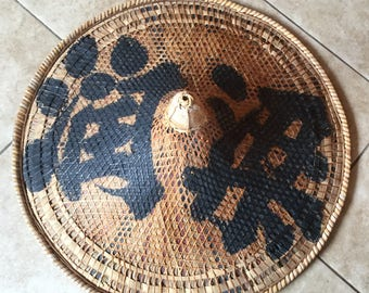 Antique Hand Painted Chinese Conical Coolie Hat, Early Woven, painted Hat