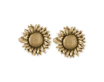 Sunflower Cufflinks Jewelry 14k Gold Handmade Flower Cufflinks SF4-CLG