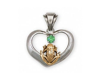 Frog Pendant Jewelry Silver And Gold Handmade Frog Pendant FGH1-TTSP