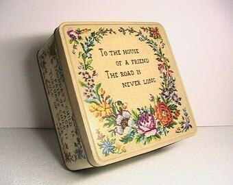 Vintage Biscuit Tin, Mondays Child Decorative Tin, Cross Stitch Tapestry Design Mondays Child Tin