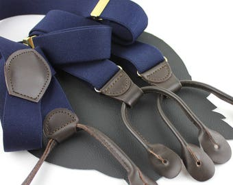 Navy Elastic and Brown Leather Vintage Suspenders - Button On Style