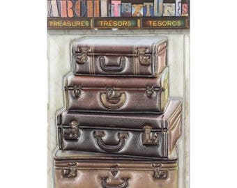 7 Gypsies Architextures Treasures Architext Treasures STACKED LEATHER SUITCASES Stickers Embellishments 7g25075 c005