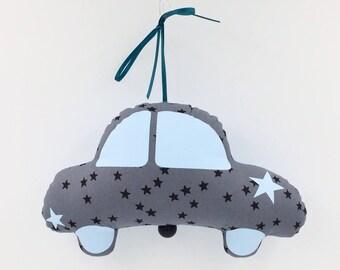 Mobile musical Voiture Coccinelle Arsène Pétrole - Bleu ciel - Boite à musique - Une étoile dans ma cabane