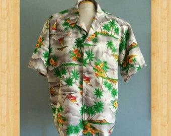 Mens vintage Hawaiian shirt in a big 1XL