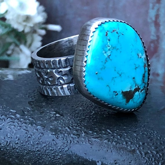 Gorgeous sterling and turquoise unisex statement ring size 10