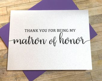 Thank you for being my matron of honor card - card for matron of honor - maid of honor - flower girl - card from bride - BLACK TIE
