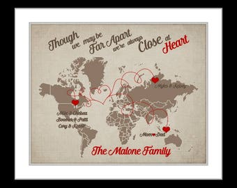 Personalized distance map family distance gift, long distance gift, long distance love, custom states, never apart maybe in distance quote