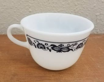 Vintage Pyrex White and Blue Coffee or Tea Cup