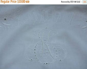 """25% SUMMER SALE Two old cotton Pillowcases with white embroidery and MONOGRAM """"Ek"""" decorative pillow case cover Set of 2"""