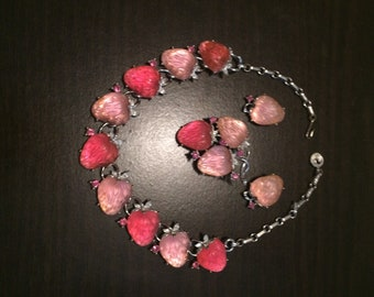 Lisner Strawberry Necklace, Brooch and Earrings in Glowing Pick Lucite and Rhinstones