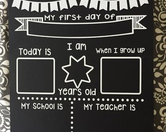 First Day of School Chalkboard, First Day of School Photo Prop, Double Sided Milestone Chalkboard, First Day and Last Day of School Pictures