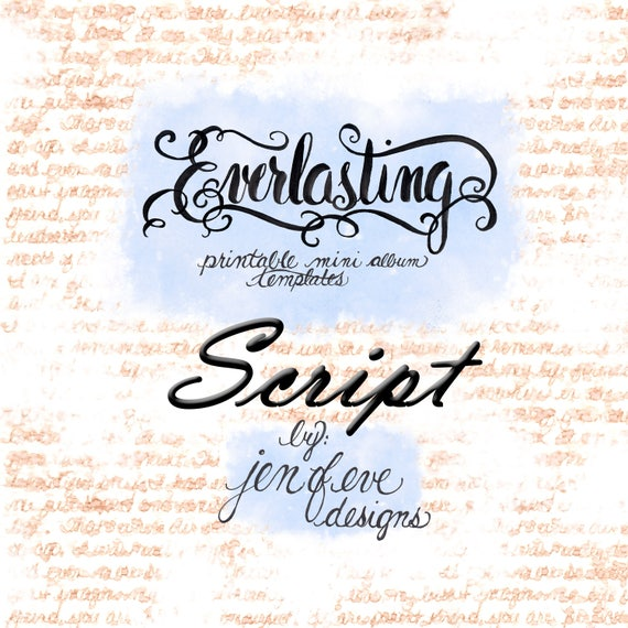 Everlasting Printable Mini album Template in SCRIPT and PLAIN
