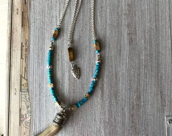 Horn Bone Pendant Necklace, Arrow Head, Faux Horn, Semi-Precious Beads, Turquoise Heishe, Tiger Eye, New Boho Jewelry
