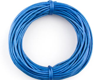 Blue Metallic Round Leather Cord 1mm, 100 meters (109 yards)