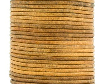Xsotica® Mustard Distressed Natural Dye Round Leather Cord 1.5mm 25 meters (27.34 yards)
