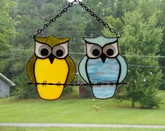 Stained Glass Mr. & Mrs. Owl - Handcrafted in Tennessee