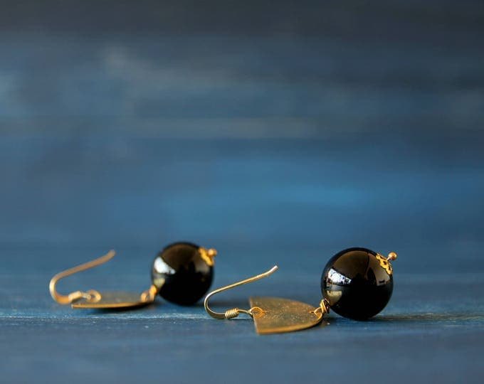 Half moon earrings Onyx dangle earrings drop earrings