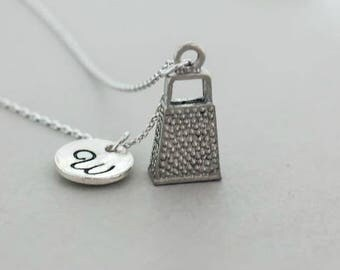 Cheese grater necklace - Cheese grater charm pendant necklace - Personalized Kitchen Utensils Necklace - Silver Plated Cheese Grater