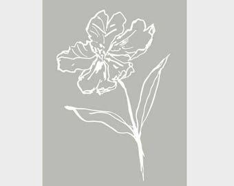 A3 Tulip Poster | White Ink & Real Grey | Wall Art Grey | Botanical Prints