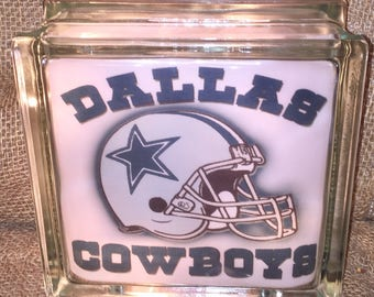 Dallas Cowboys Lighted Glass Block, Glass Light, Sports Gifts