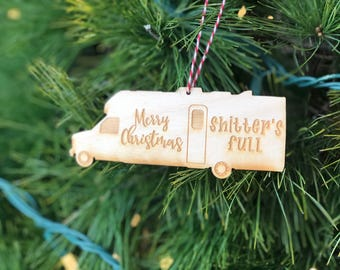 Funny holiday ornament (shitters full, merry christmas, rv)