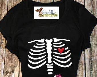 Pregnant Skeleton Shirt ** Skeleton Shirt ** Halloween Shirt