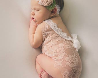 Newborn lace romper prop girl mocha peach ivory baby girl  photo outfit baby girl open back romper and headband props baby photography RTS