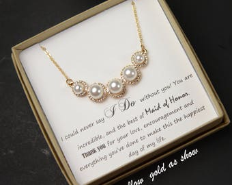 Bridesmaid Gift, Bridesmaid Jewelry Set, Bridesmaid Earrings, Pearl Necklace  Earrings Set,Personalized Bridesmaid Gift,Wedding Jewelry Set