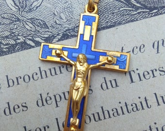 4pcs French Vintage cross  crucifix in solid brass gold blue enamel cross jesus Jesus catholic France  vintage gold blue cross