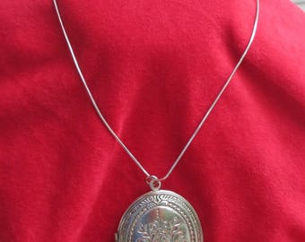Vintage Locket Large Oval Shaped On Snake Chain