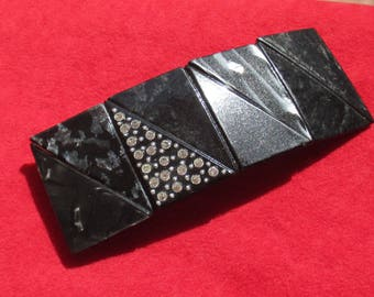 Vintage Black Marbled Look Clear Rhinestone Large Barrette Made In France
