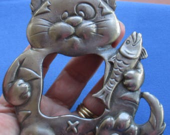 Retro Pewter Cat Fish Whimsical Picture Frame Missing Back