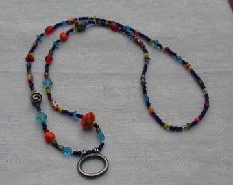 Retro Colorful Glass & Metal Beaded Necklace