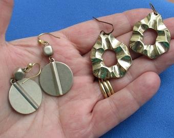Lot Of Retro Dangling Metal Pierced Earrings