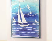 Watercolored Father's Day Card - Father's Day Card with Sailboats - Boat Themed Father's Day Card - Happy Father's Day