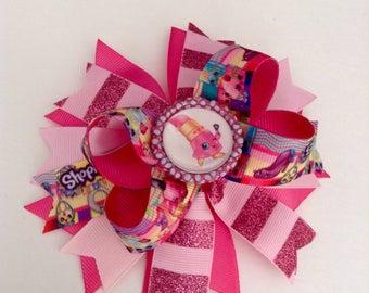 Shopkins Lippy Lips Bow, Shopkins Boutique Hair Bow, Pink Shopkins Bow, Shopkins Birthday Bow.