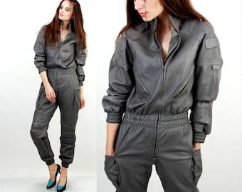 IXS Motorcyclee Suit / Speed racer One Piece Suit / Gray Leather Biker Suit / 80s IXS Suit / Small /