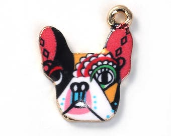 6 DOG Charms - Doggie Pendants - 19 x 16 mm - Colorful Dog Charm - Multi Color Dogs - Enamel Dogs