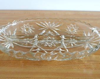 Cut Pressed Glass Oval Divided Serving Bowl Dish with Handles